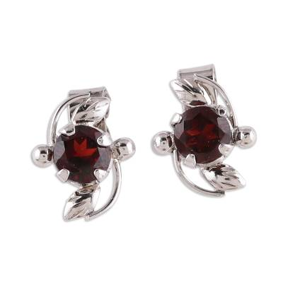 Rhodium Plated Garnet Stud Earrings from India