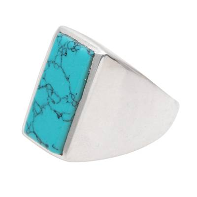 Men's reconstituted turquoise ring, 'Classy Man' - 925 Sterling Silver and Reconstituted Turquoise Men's Ring