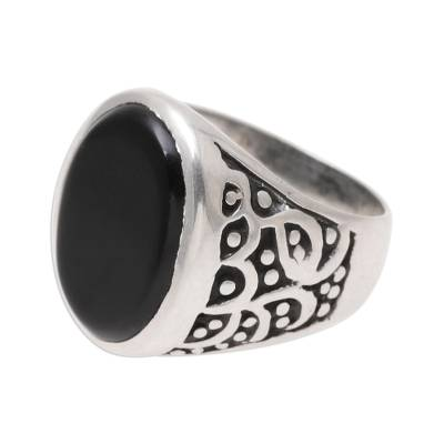 Men's onyx ring, 'Magical Vibes' - Handcrafted Sterling Silver and Onyx Men's Ring from India