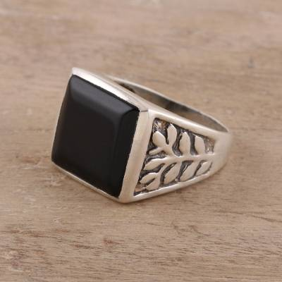 Men's onyx ring, 'Mystical Leaves' - 925 Sterling Silver and Onyx Men's Ring with Leaf Motifs