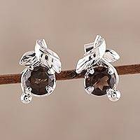 Rhodium plated smoky quartz stud earrings, 'Nature Leaf' - Rhodium Plated Sterling Silver Smoky Quartz Stud Earrings