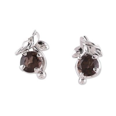 Rhodium plated smoky quartz stud earrings, 'Nature Leaf' - Rhodium Plated Sterling Silver Smoky Quartz Stud Earrings