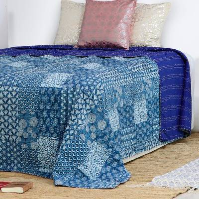 Cotton bedspread, 'Kantha Blue' (king) - 100% Cotton Kantha and Patchwork Bedspread in Blue