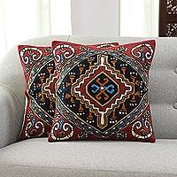 Embroidered cotton cushion covers, 'Creative Kite' (pair) - Colorful Embroidered Cotton Cushion Covers from India (Pair)
