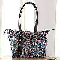 Leather accented cotton tote, 'Royal Garden' - Floral Leather Accented Cotton Tote from India