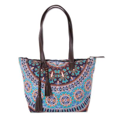 Floral Leather Accented Cotton Tote from India