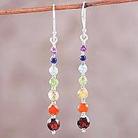 Multi-gemstone dangle earrings, 'Shimmering Balance' - Multi-Gemstone Sterling Silver Chakra Earrings from India