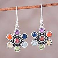 Multi-gemstone dangle earrings, 'Floral Balance' - Colorful Multi-Gemstone Floral Chakra Dangle Earrings