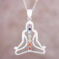 Multi-gemstone pendant necklace, 'Radiant Chakra' - Chakra Silhouette Multi-Gemstone Pendant Necklace from India