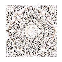 Mango wood relief panel, 'Floral Glory in White' - Distressed White Floral Mango Wood Relief Panel from India