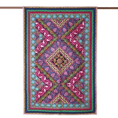 Recycled cotton blend patchwork wall hanging, 'Paisley Glamour' - Paisley Motif Cotton Blend Patchwork Wall Hanging from India