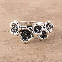 Sterling silver cocktail ring, 'Floral Contrast'