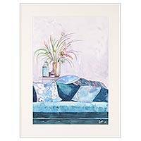 'Blue Haven' - Signed Still Life Watercolor Painting from India