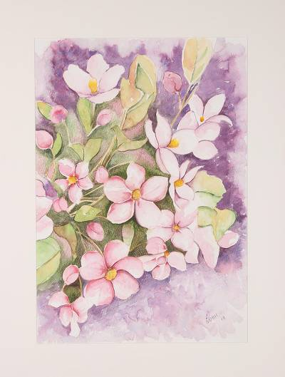 'Floral Bliss' - Signed Watercolor Painting of Pink Flowers from India