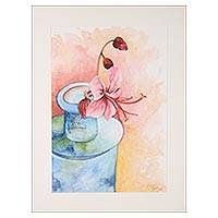'Beauty in a Bottle' - Signed Watercolor Painting of a Pink Lily Flower from India