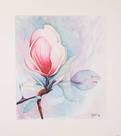 Signed Watercolor Painting Of A Magnolia Flower From India