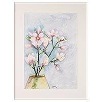 'Spring Blossoms' - Signed Still-Life Floral Watercolor Painting from India