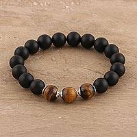 Onyx and tiger's eye beaded stretch bracelet, 'Midnight Adventure' - Onyx and Tiger's Eye Beaded Stretch Bracelet from India