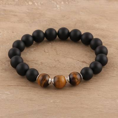Onyx and tigers eye beaded stretch bracelet, Midnight Adventure