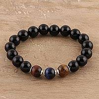 Onyx and tiger's eye beaded stretch bracelet, 'Midnight Enchantment' - Handmade Tiger's Eye and Onyx Beaded Stretch Bracelet