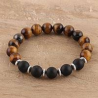 Onyx and tiger's eye beaded stretch bracelet, 'Evening Bliss' - Classic Tiger's Eye and Onyx Beaded Stretch Bracelet