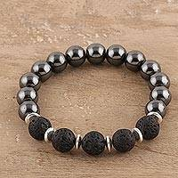 Hematite and lava stone beaded stretch bracelet, 'Magical Volcano' - Hematite and Lava Stone Beaded Stretch Bracelet from India