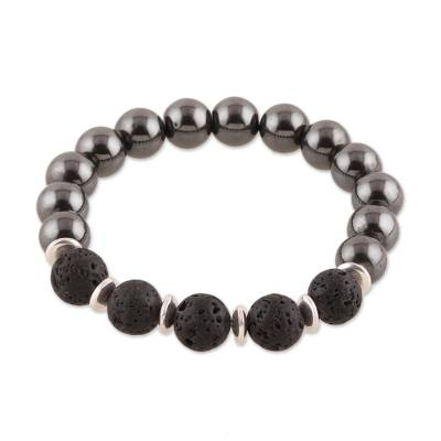 Hematite and Lava Stone Beaded Stretch Bracelet from India