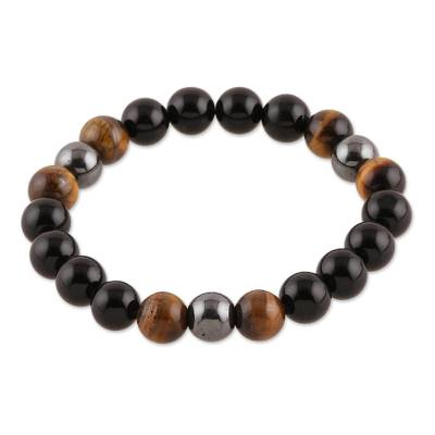 Multi-gemstone beaded stretch bracelet, 'Nature's Wonder' - Onyx Tiger's Eye and Hematite Beaded Stretch Bracelet