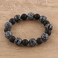 Obsidian and onyx beaded stretch bracelet, 'Nature's Beauty' - Artisan Crafted Obsidian and Onyx Beaded Stretch Bracelet