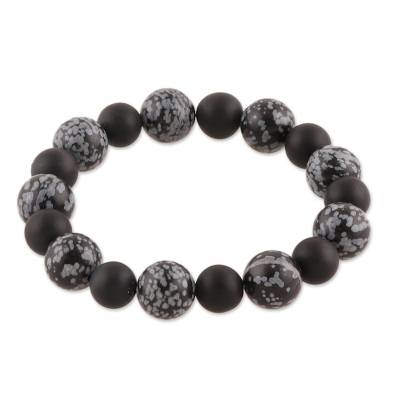 Artisan Crafted Obsidian and Onyx Beaded Stretch Bracelet