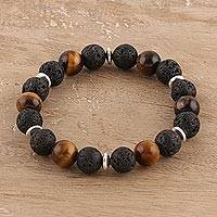 Tiger's eye and lava stone beaded stretch bracelet, 'Volcanic Harmony' - Tiger's Eye Lava Stone and Sterling Silver Beaded Bracelet