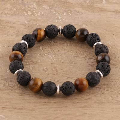 Tigers eye and lava stone beaded stretch bracelet, Volcanic Harmony