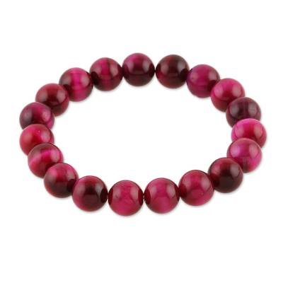 Tiger's eye beaded stretch bracelet, 'Peaceful Sunrise' - Handmade Pink Tiger's Eye Beaded Stretch Bracelet from India