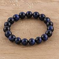 Tiger's eye beaded stretch bracelet, 'Peaceful Twilight' - Blue Tiger's Eye Beaded Stretch Bracelet from India