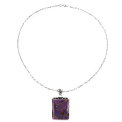 Sterling silver and composite turquoise pendant necklace, 'Purple Rectangle' - Rectangular Purple Composite Turquoise and Silver Necklace