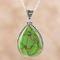 Sterling silver and composite turquoise pendant necklace, 'Green Bliss' - Teardrop Composite Turquoise and Sterling Silver Necklace