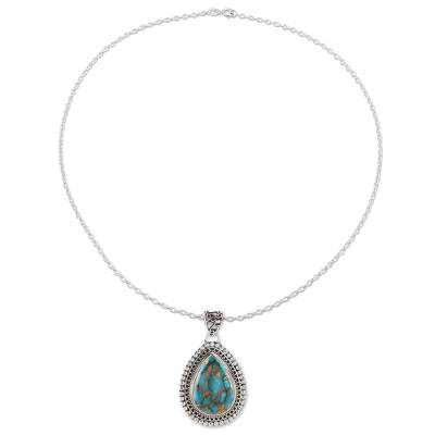 Sterling silver and composite turquoise pendant necklace, 'Traditional Drops' - Teardrop Composite Turquoise Pendant Necklace from India