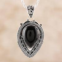 Onyx pendant necklace, 'Black Drop' - Black Onyx Pendant Necklace from India