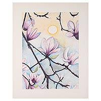 'Magnolia Magic' - Signed Watercolor Magnolia Flower Painting from India