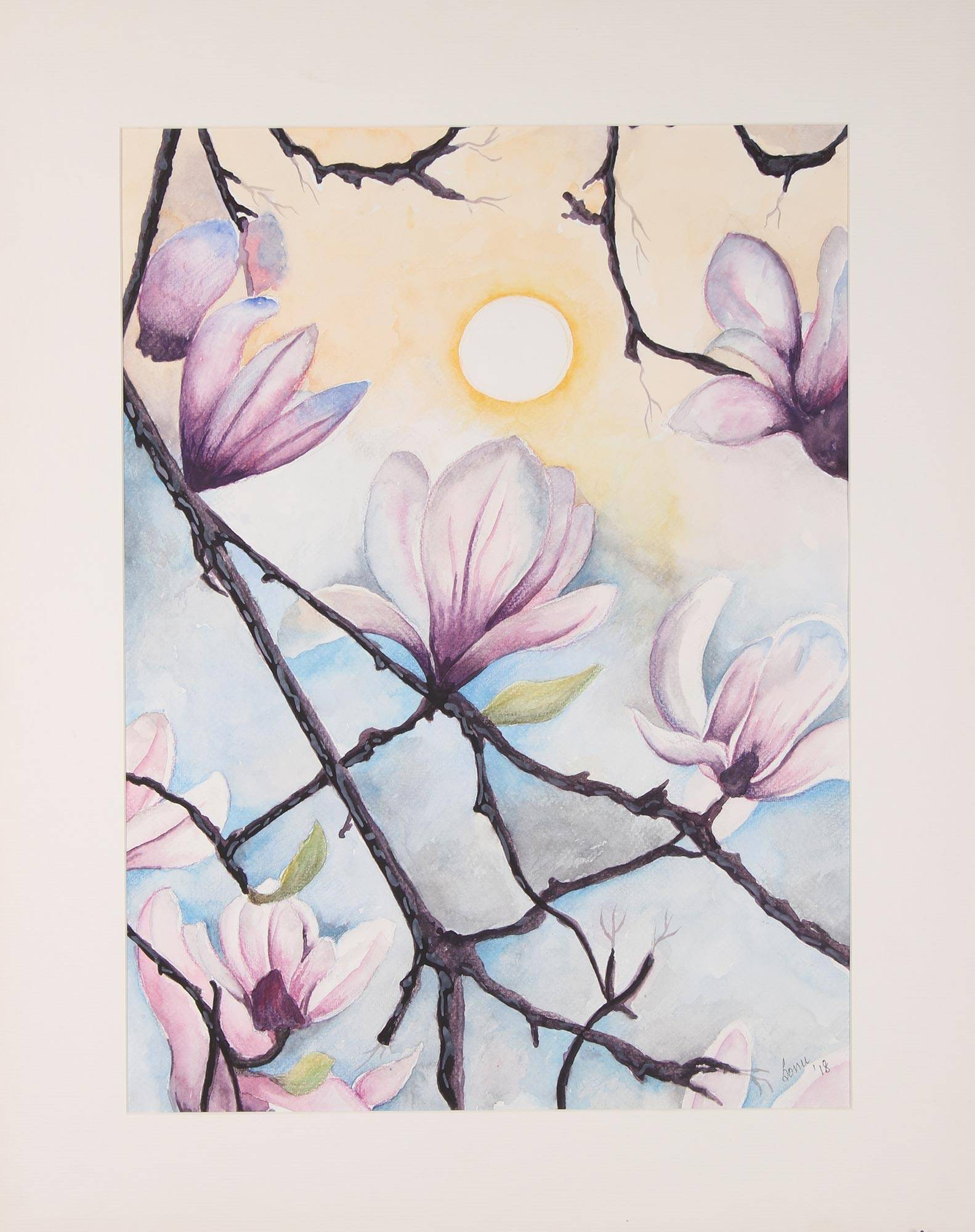 Signed Watercolor Magnolia Flower Painting From India Magnolia