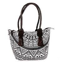 Leather accented cotton tote, 'Mughal Elegance' - Slate Grey Printed Leather Accented Cotton Tote from India