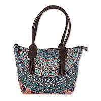 Leather accented cotton tote, 'Royal Mandala' - Printed Mandala Leather Accented Cotton Tote from India