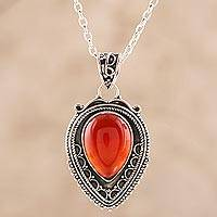 Carnelian pendant necklace, 'Red-Orange Drop' - Red-Orange Carnelian Teardrop Pendant Necklace from India