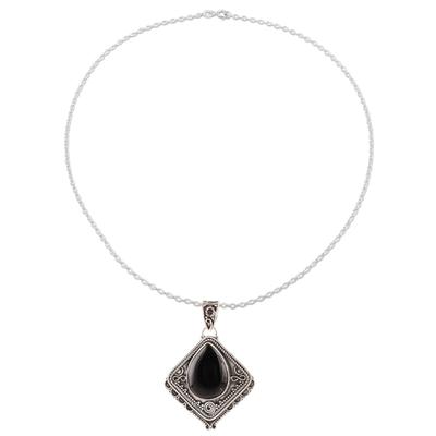 Onyx pendant necklace, 'Black Kite' - Kite-Shaped Onyx Pendant Necklace from India