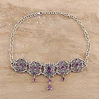 Amethyst pendant necklace, 'Royal Design' - 11-Carat Amethyst Pendant Necklace from India