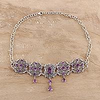 Amethyst pendant necklace, 'Royal Design' - 11-Carat Amethyst Pendant Necklace from India