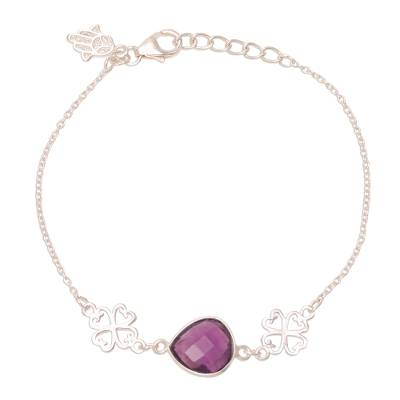 Amethyst pendant bracelet, 'Hamsa Grace' - Hamsa Charm 3.5-Carat Amethyst Pendant Bracelet from India
