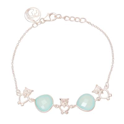 8-Carat Blue Chalcedony Pendant Bracelet from India