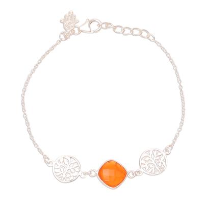 Carnelian pendant bracelet, 'Hamsa Allure' - 2-Carat Carnelian Pendant Bracelet from India