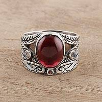 Multi-gemstone ring, 'Fiery Strength' - Multi-Gemstone Ring Crafted in India
